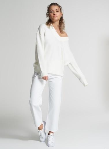 Pi π Yüksek Bel Jean Pantolon Beyaz